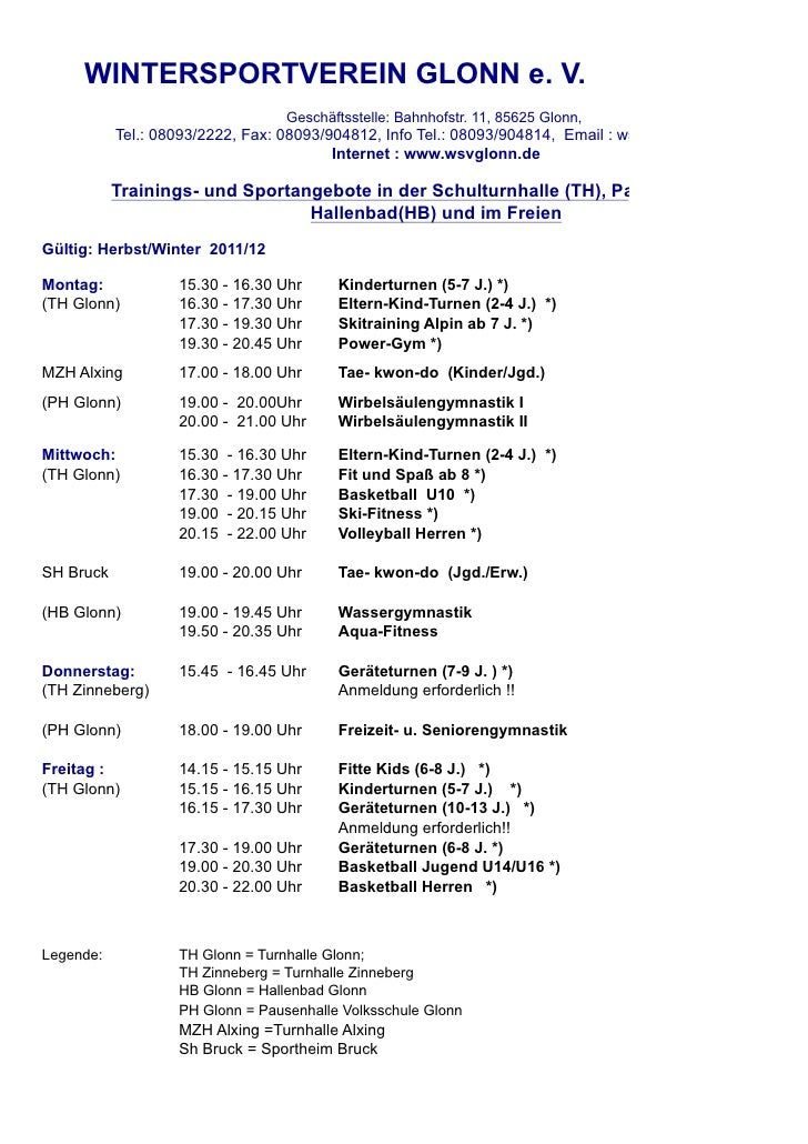 WINTERSPORTVEREIN GLONN e. V.                                  Geschäftsstelle: Bahnhofstr. 11, 85625 Glonn,           Tel...