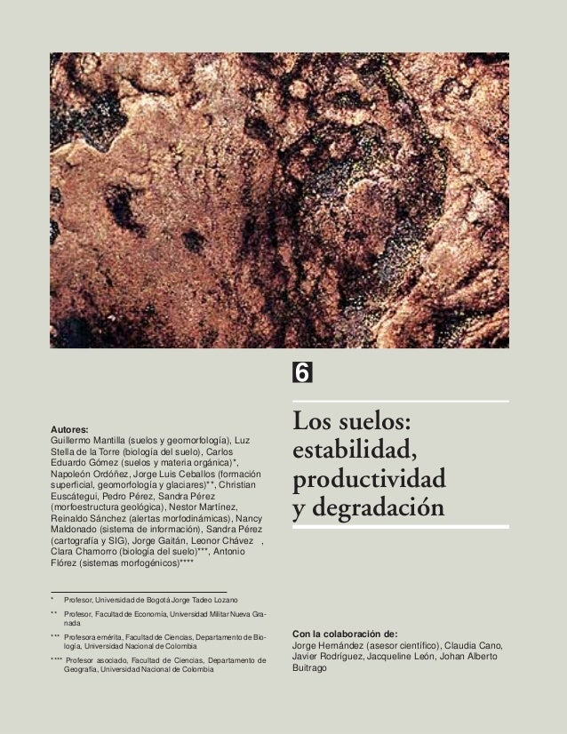 6Los suelos:estabilidad,productividady degradaciónAutores:Guillermo Mantilla (suelos y geomorfología), LuzStella de la Tor...