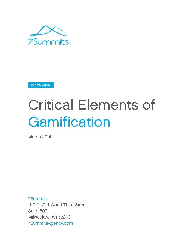 Critical Elements of Gamification