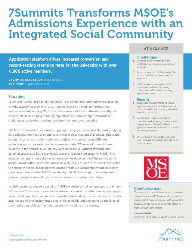 7Summits Transforms MSOE's Admissions Experience with an Integrated Social Community 7SUMMITS CASE STUDY: MSOE BRIDGE Situ...