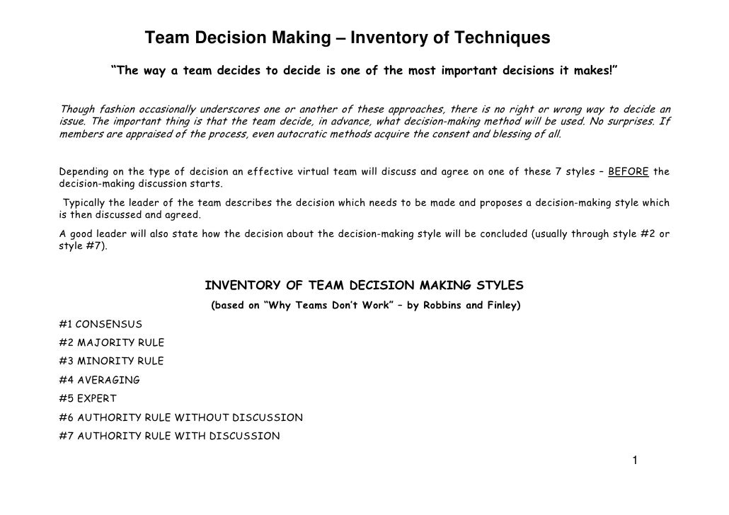 Team Decision Making – Inventory of Techniques                                                                            ...