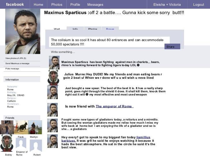 facebook Maximus  Sparticus : off 2 a battle…. Gunna kick some sorry  butt!!! Home Photos Profile Messages Eleisha + Victo...