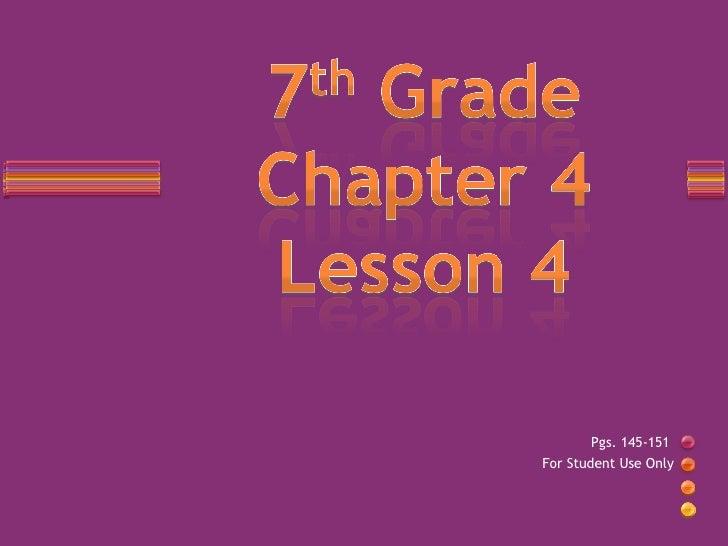 7th Grade Chapter 4 Lesson 5 Slideshare