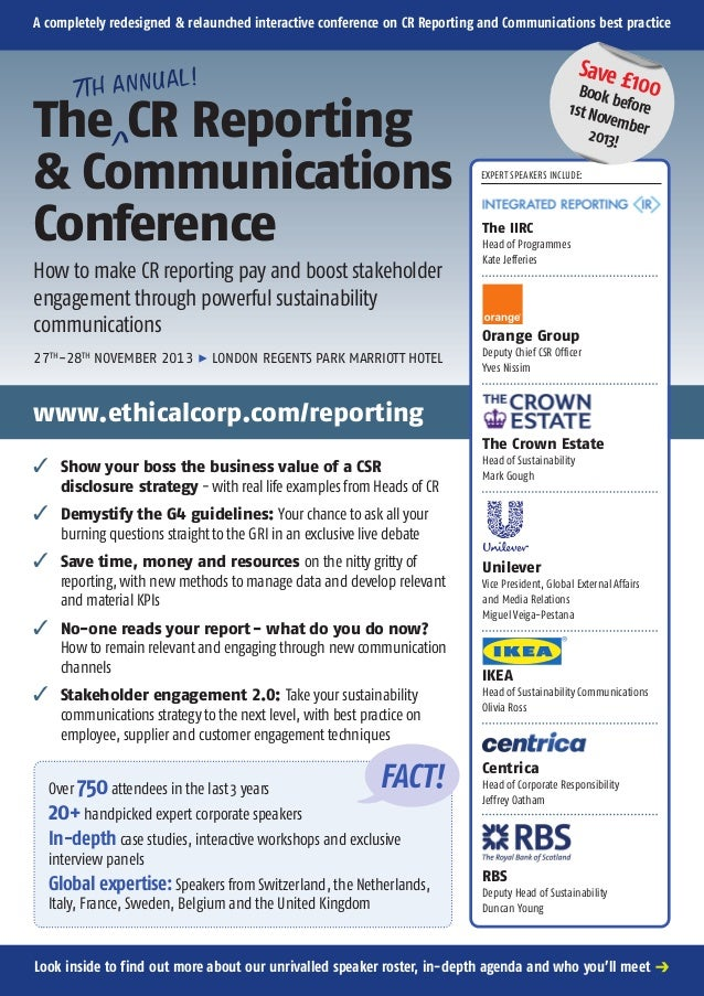 A completely redesigned & relaunched interactive conference on CR Reporting and Communications best practice  Save £ 100  ...