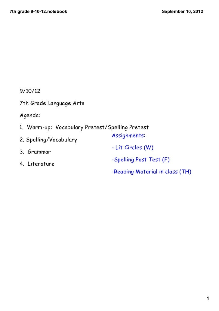 7th grade 9­10­12.notebook                              September 10, 2012    9/10/12    7th Grade Language Arts    Agenda...