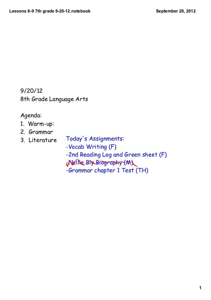 Lessons897thgrade92012.notebook                    September20,2012     9/20/12     8th Grade Language Arts     A...
