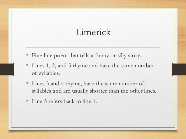 an analysis of limericks account There was a young poet from japan whose limericks did not easily scan when asked why this was a limerick about limericks create an account.