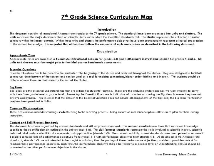 7th                                           7th Grade Science Curriculum Map                                            ...