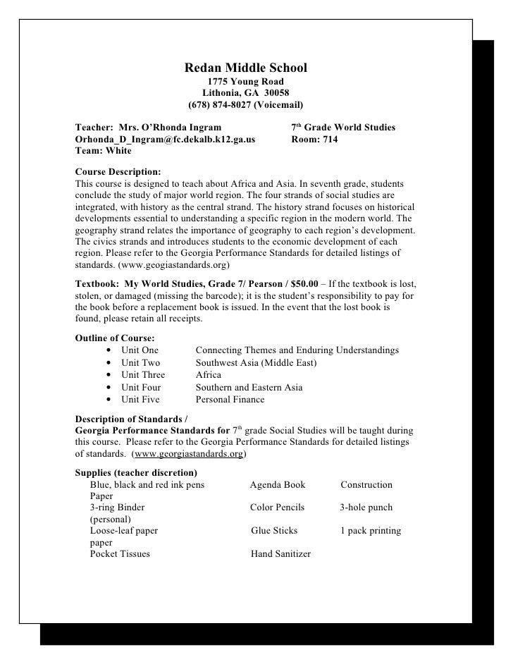 7th Grade Syllabus 2011-12