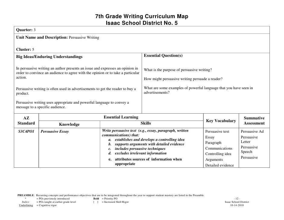 persuasive essay 7th grade Writing curricular calendar, seventh grade, 2013-2014 unit three – research-based argument essays unitthree–research/basedargumentessays.