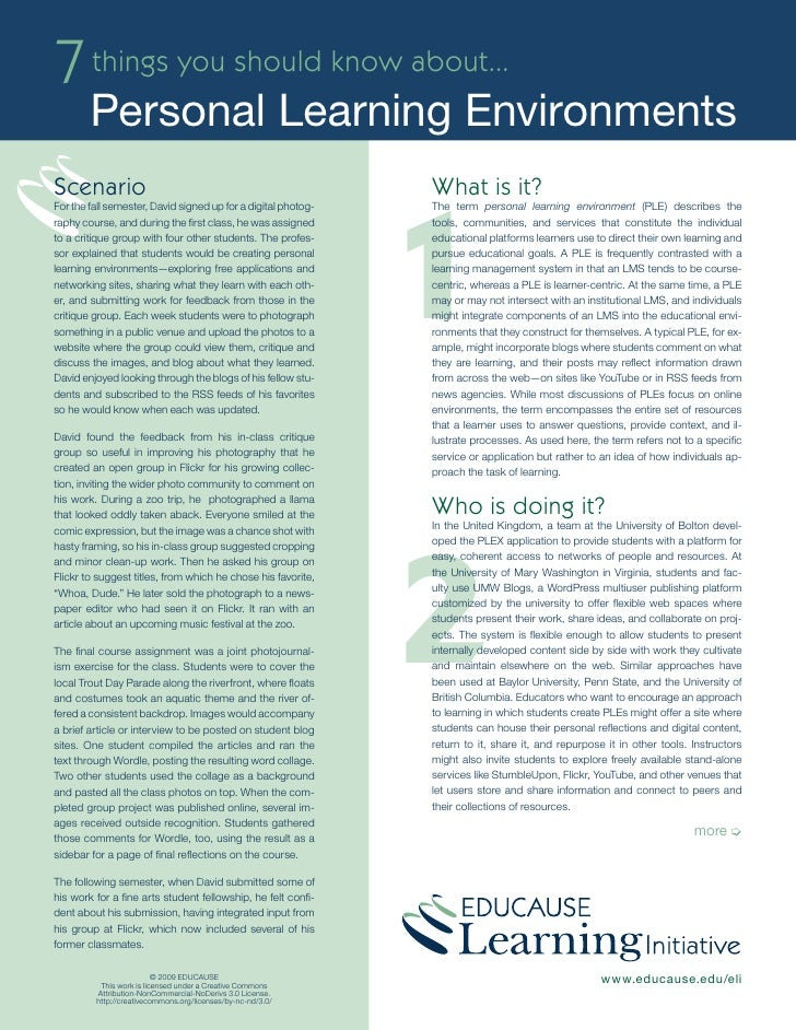 7 things you should know about...         Personal Learning Environments                                                  ...