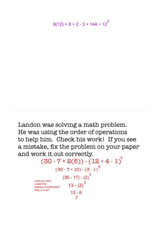 Order of operations homework sheet