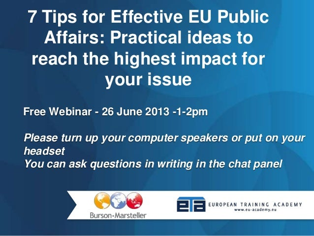 7 tips for effective eu public affairs   practical ideas to reach the highest impact for your issue
