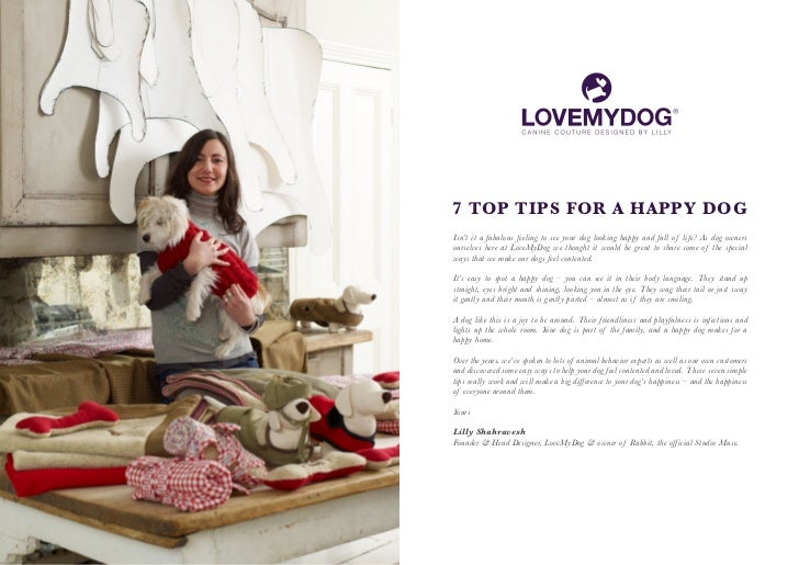 7 TOP TIPS FOR A HAPPY DOGIsn't it a fabulous feeling to see your dog looking happy and full of life? As dog ownersourselv...