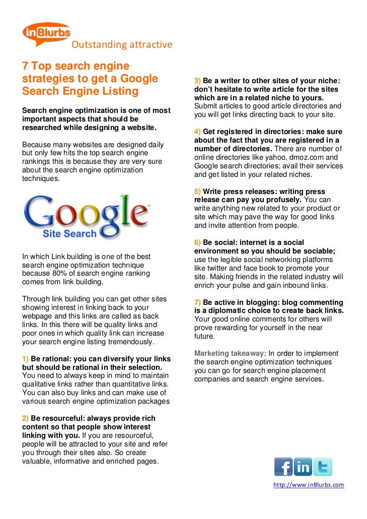 7 top search engine strategies to get a google search engine listing