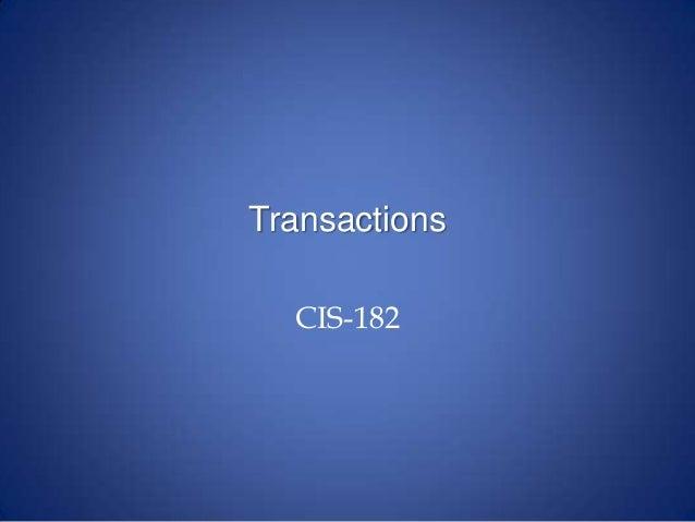 Transactions CIS-182