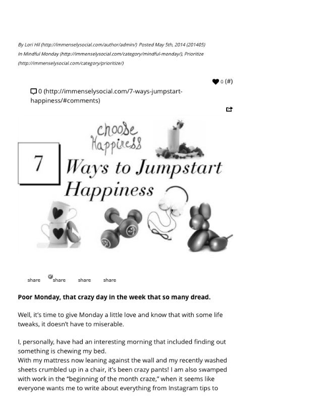 7 ways to jumpstart happiness in less than 30 minutes | immensely social