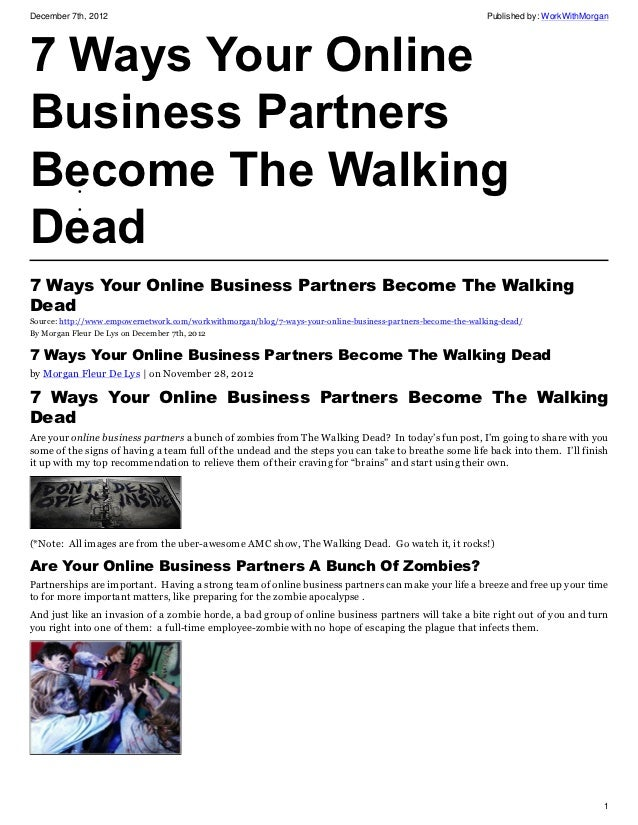 7 ways your online business partners become the walking dead