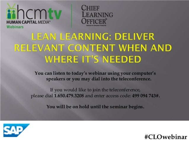 Lean Learning: Deliver Relevant Content When and Where It's Needed