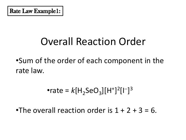 reaction order and rate law Determining rate laws and rate constants this is an exercise in the analysis of basic kinetic data when you press new problem, a set of kinetic data for the reaction of three species a,b and c will appear in a table to the right of the scoring table.