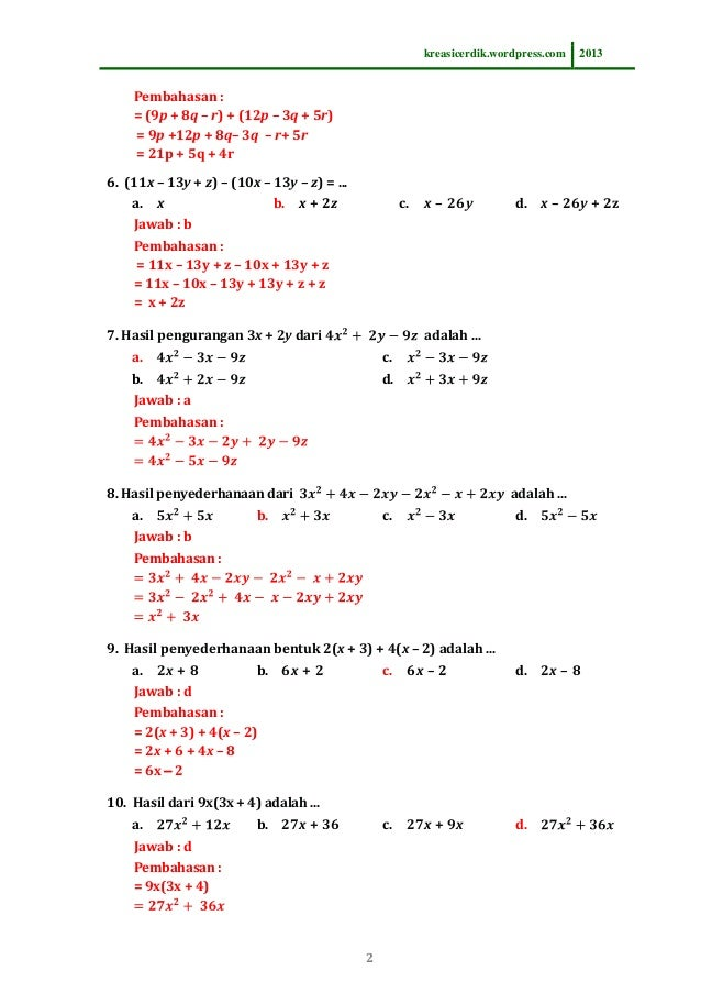 8.2.1 soal dan pembahasan pemfaktoran bentuk aljabar matematika slt\u2026