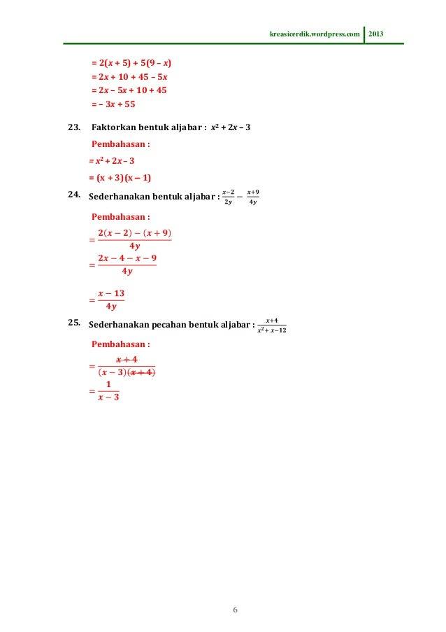 8 2 1 Soal Dan Pembahasan Pemfaktoran Bentuk Aljabar Matematika Slt