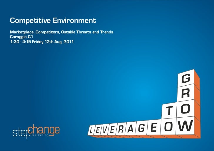 Competitive EnvironmentMarketplace, Competitors, Outside Threats and TrendsCoraggio C11:30 - 4:15 Friday 12th Aug, 2011