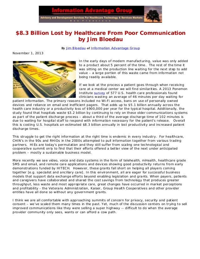 $8.3 billion lost by healthcare from poor communication