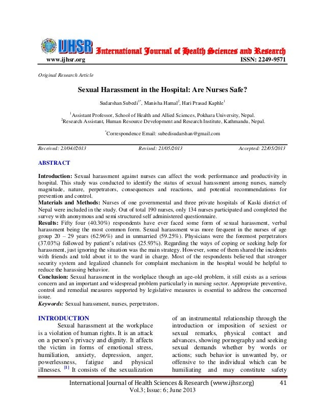 International Journal of Health Sciences and Research www.ijhsr.org  ISSN: 2249-9571  Original Research Article  Sexual Ha...