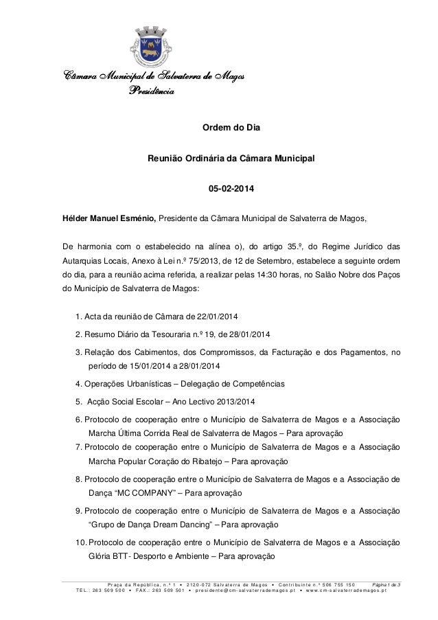 Câmara Municipal de Salvaterra de Magos Presidência Ordem do Dia Reunião Ordinária da Câmara Municipal 05-02-2014 Hélder M...