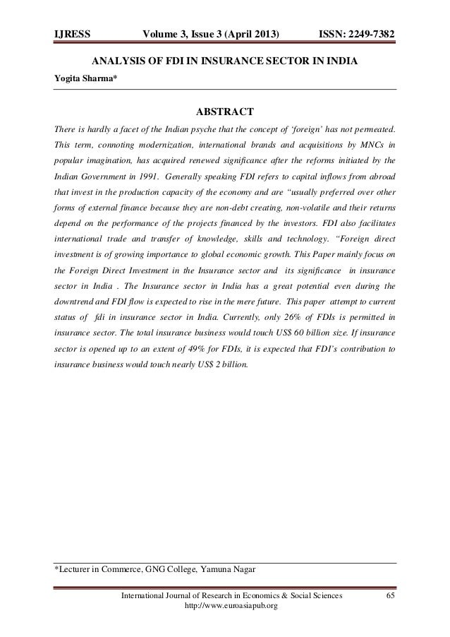 IJRESS  Volume 3, Issue 3 (April 2013)  ISSN: 2249-7382  ANALYSIS OF FDI IN INSURANCE SECTOR IN INDIA Yogita Sharma*  ABST...