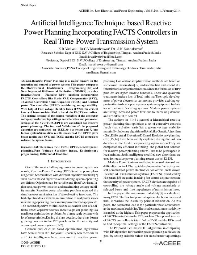 Short Paper ACEEE Int. J. on Electrical and Power Engineering , Vol. 5, No. 1, February 2014  Artificial Intelligence Tech...