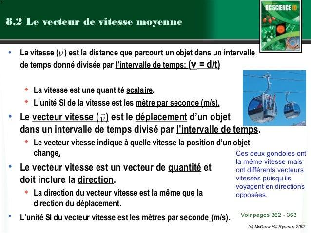 (c) McGraw Hill Ryerson 2007 8.2 Le vecteur de vitesse moyenne • La vitesse ( ) est la distance que parcourt un objet dans...