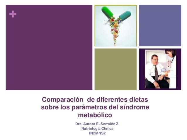 +  Comparación de diferentes dietas  sobre los parámetros del síndrome  metabólico  Dra. Aurora E. Serralde Z.  Nutriologí...