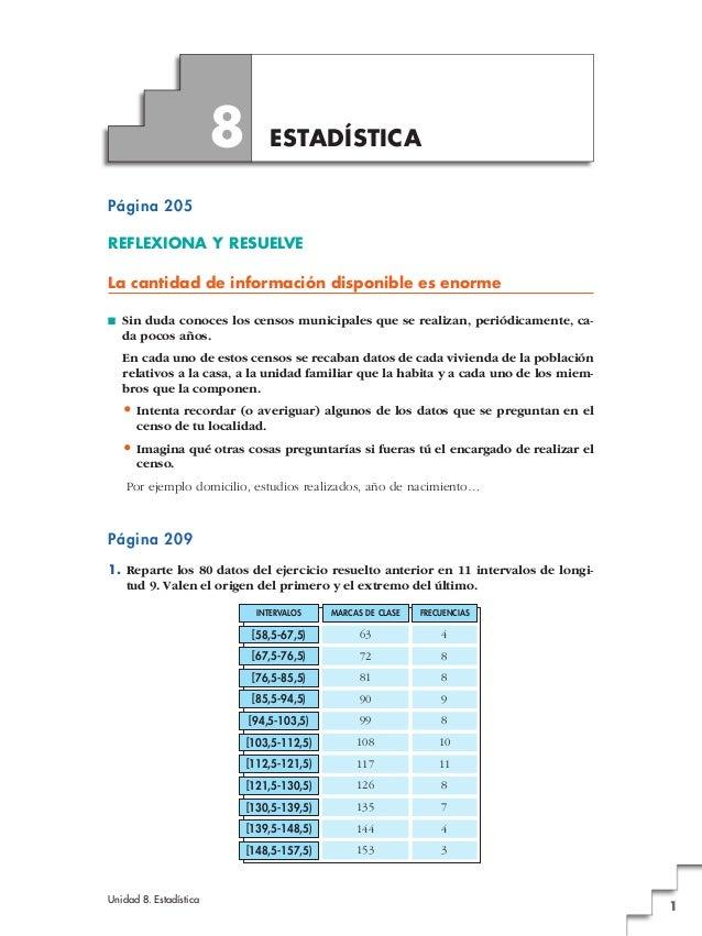 Unidad 8. Estadística 1 Página 205 REFLEXIONA Y RESUELVE La cantidad de información disponible es enorme ■ Sin duda conoce...