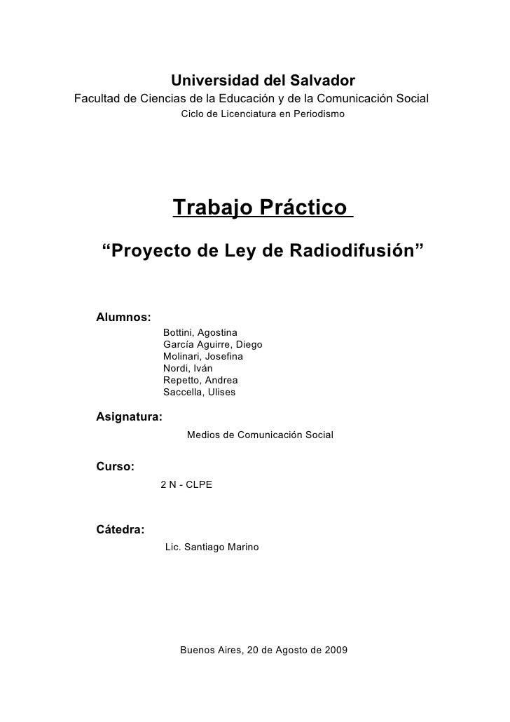 Universidad del Salvador Facultad de Ciencias de la Educación y de la Comunicación Social                     Ciclo de Lic...
