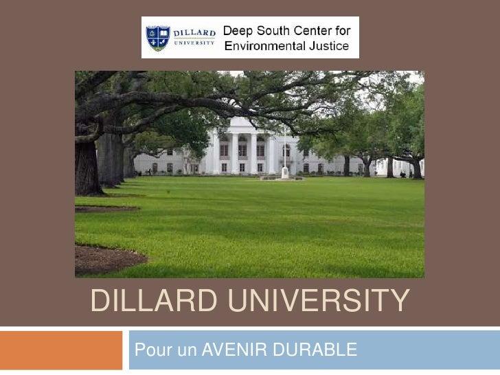 DILLARD UNIVERSITY  Pour un AVENIR DURABLE