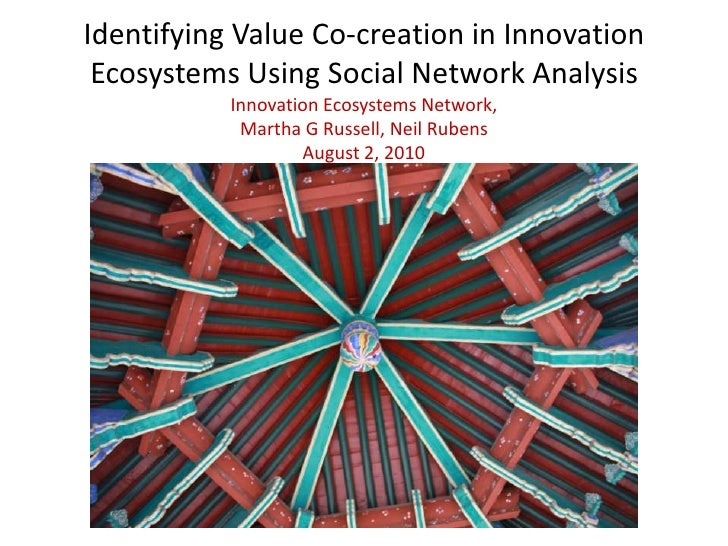 Identifying Value Co-creation in Innovation Ecosystems Using Social Network AnalysisInnovation Ecosystems Network,Martha G...