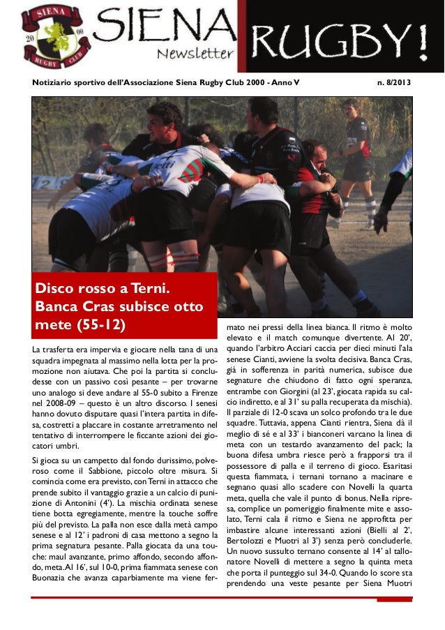 Newsletter Siena Rugby 8 2013