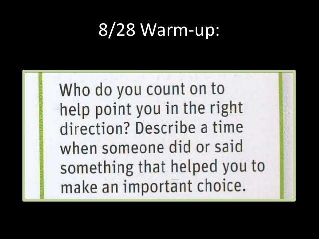 8/28 Warm-up: