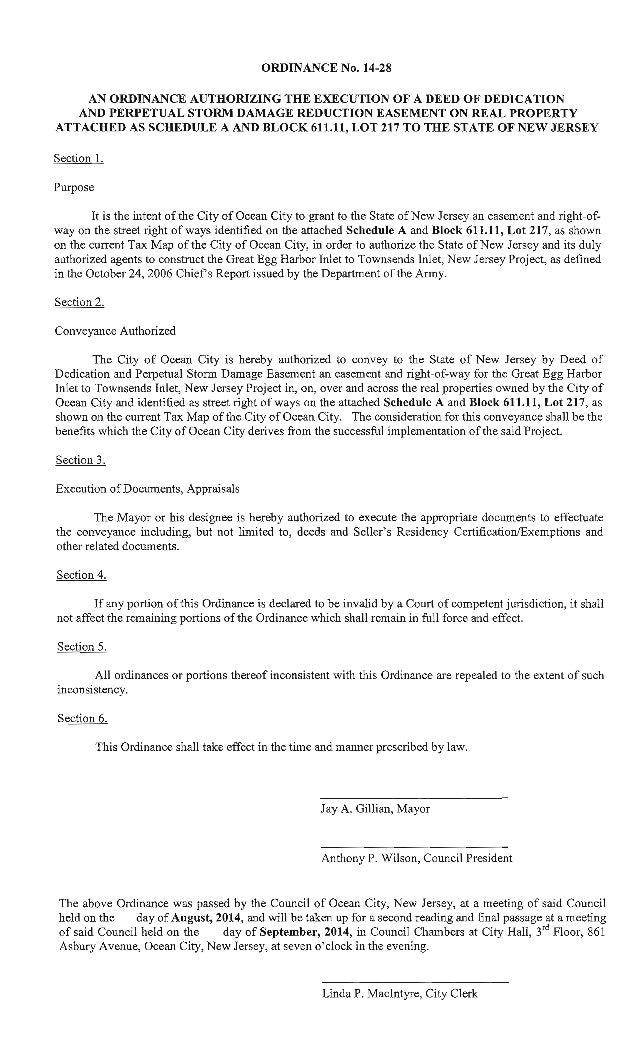 Ocean City Council agenda for Aug. 28, 2014