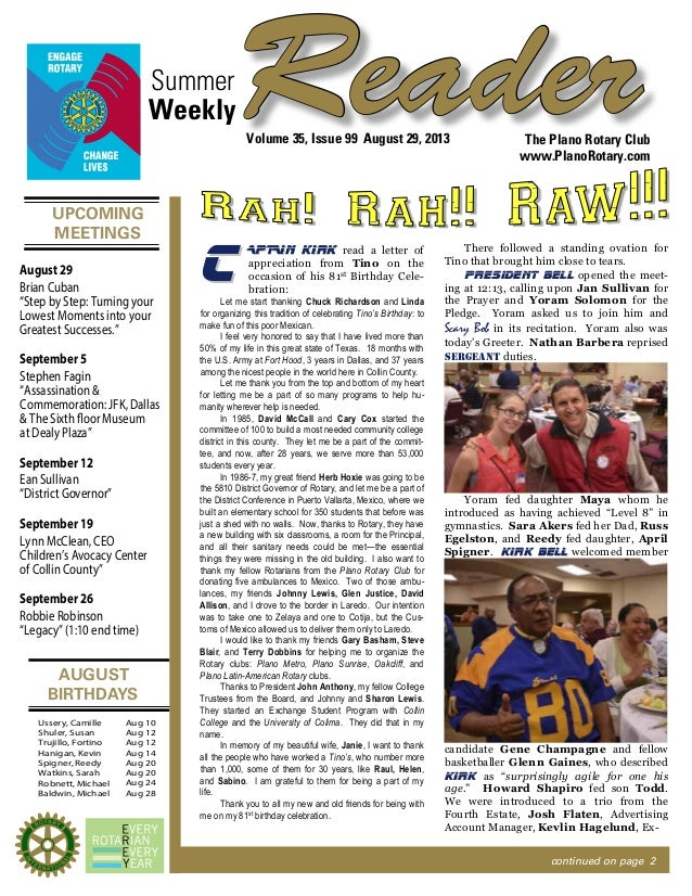 UPCOMING MEETINGS AUGUST BIRTHDAYS ReaderSummer The Plano Rotary Club www.PlanoRotary.com Volume 35, Issue 99 August 29, 2...