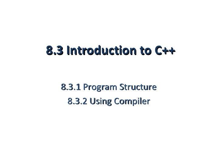 8.3 program structure (1 hour)