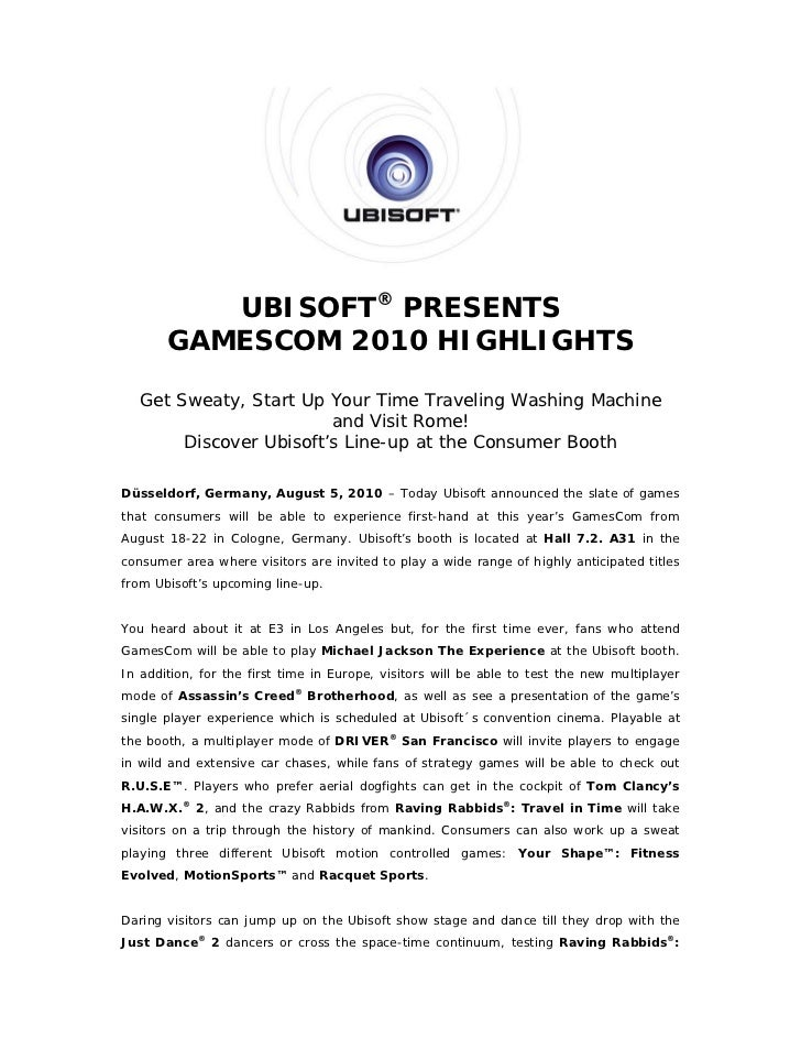 Ubisoft Presents Gamescom 2010 Highlights