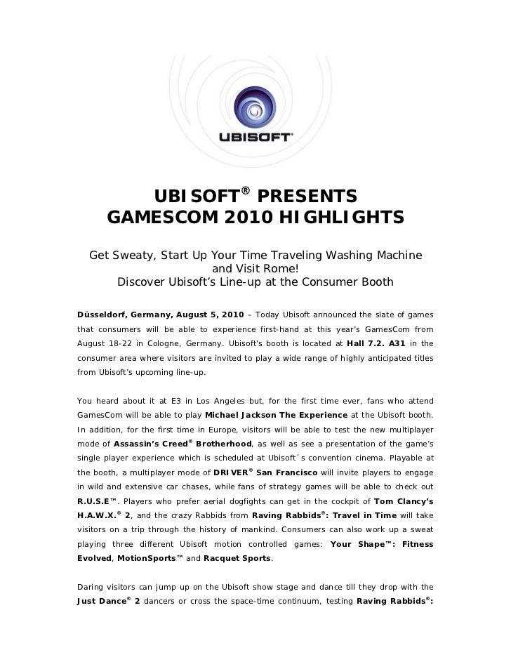 UBISOFT® PRESENTS       GAMESCOM 2010 HIGHLIGHTS   Get Sweaty, Start Up Your Time Traveling Washing Machine               ...