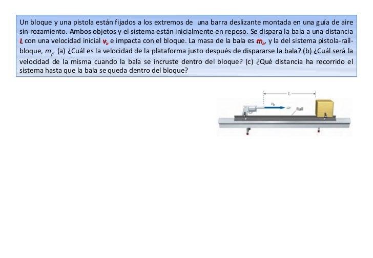 Un bloque y una pistola están fijados a los extremos de una barra deslizante montada en una guía de airesin rozamiento. Am...
