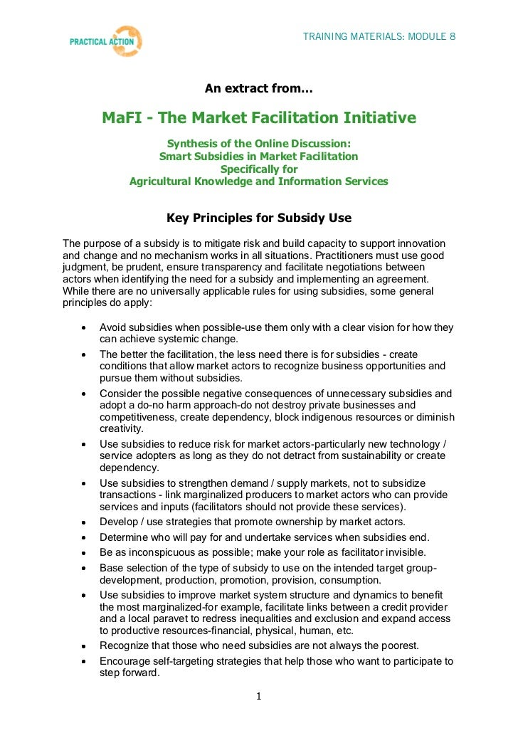 Step 8 Training Materials - Key Principles and Tips on Subsidies