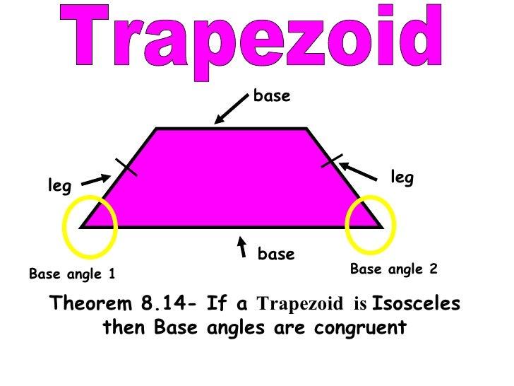 Isosceles Trapezoid Base Angles Isosceles then Base angles