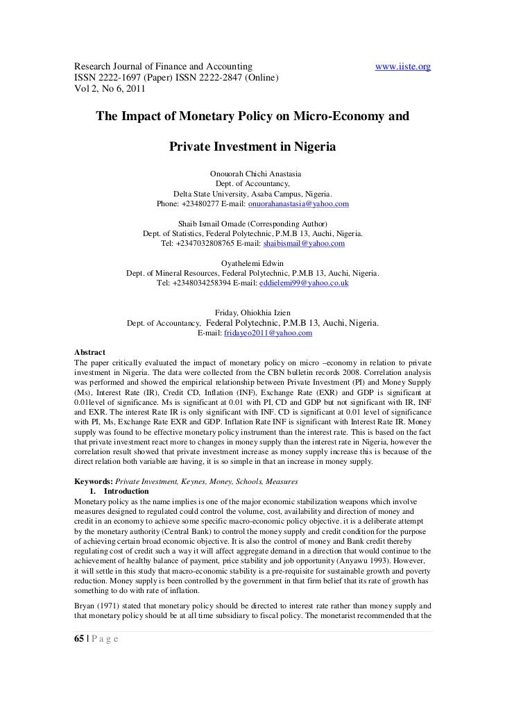 8.[65 75]the impact of monetary policy on micro-economy and private investment in nigeria