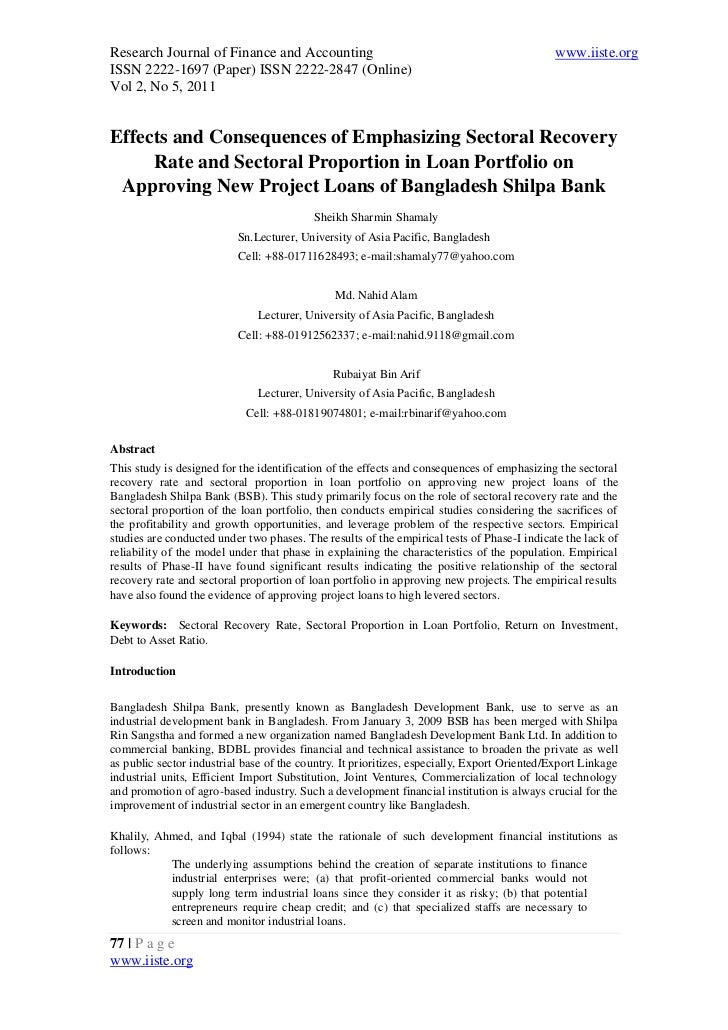 8.[77 92]effects and consequences of emphasizing sectoral recovery rate and sectoral proportion in loan portfolio on approving new project loans of bangladesh shilpa bank